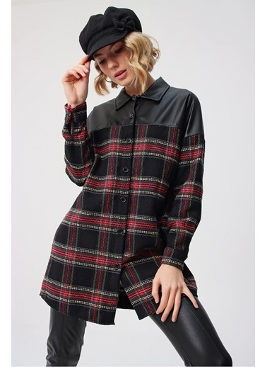 Butikburuç Kadın Siyah Üst Deri Gömlek Tunik Siyah